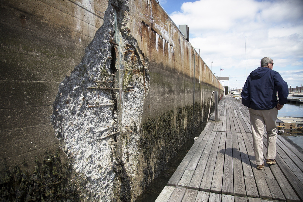 Areas of the sea wall at Spring Point Marina need repair, including the wall to the left. Yoon S. Byun/Staff Photographer