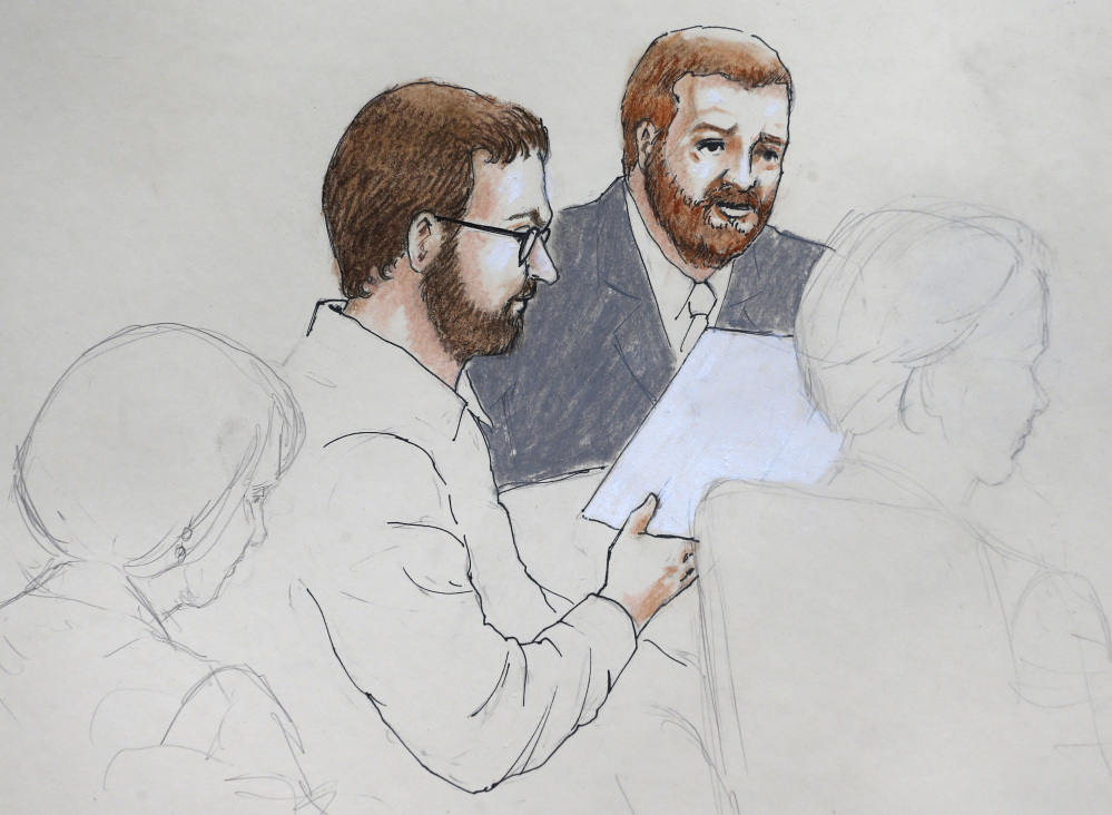 This sketch by courtroom artist Jeff Kandyba depicts Aurora theater shooting defendant James Holmes, center left, and defense attorney Daniel King in court at the Arapahoe County Justice Center on the first day of Holmes' trial, in Centennial, Colo., on Monday.