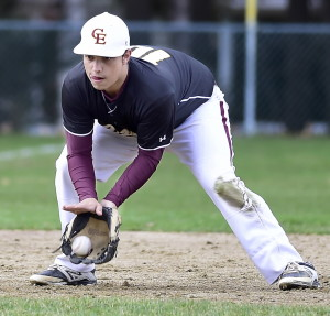 Cape Elizabeth shortstop Matt Denison fields a ground ball during the Capers' 4-3 win over Yarmouth on Monday in Yarmouth.