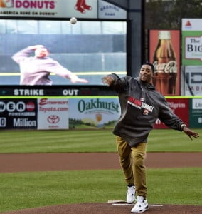 New England Patriot Malcolm Butler throws out the ceremonial first pitch before the start of Monday's game as Portland Sea Dogs hosted the Binghamton Mets in AA baseball action at Hadlock Field. (Photo by Gordon/ Staff Photographer)