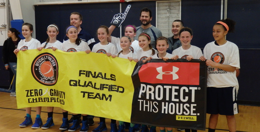 Members of the Blue Wave 12U girls' basketball team that won the HoopRootz Gold Rush Classic, from left to right: Front : Alie Peterson, Adele Nadeau, Allie Hanlon, Kayla Conley, Julia Loring, Maria Degifico, Beth Stone-Grannell, Lauren Fotter, Gracie Forgues and Fiona Stawarz. Back: Coaches Phil Conley, Jeff Fotter and Steve Hanlon.