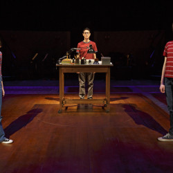 "This photo provided by O&M Co shows Sydney Lucas as Small Alison, Beth Malone as Alison, and Emily Skeggs as Medium Alison in ""Fun Home"" at Circle in the Square Theatre in New York."