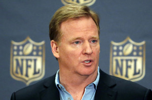 In this March 25, 2015, file photo, NFL Commissioner Roger Goodell addresses the media at a news conference at the NFL Annual Meeting in Phoenix.