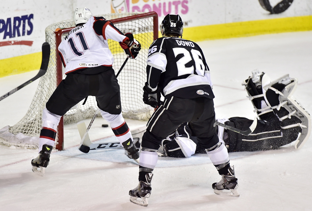 Pirate Francis Wathier scores the first goal of the game against the Manchester Monarchs on Thursday.
