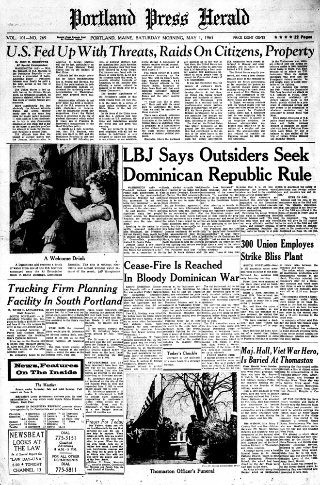 Portland Press Herald from May 1, 1965.