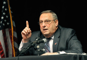 Gov. Paul LePage discusses his tax reform plan during a recent town hall meeting.