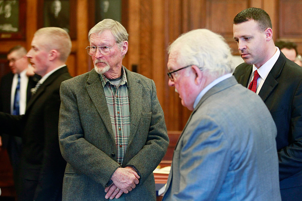 """Merrill """"Mike"""" Kimball, 72, of Yarmouth, left, is on trial in Portland for the October 2013 shooting death of Leon Kelley. To his right is his attorney Daniel Lilley."""