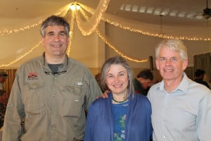 Board member, author and registered Maine guide Lou Zambello joins Linda Aldrich of Portland and her husband David Miller, board president of  the Sebago Chapter of Trout Unlimited, as dinner at the Woodfords Club in Portland gets underway.