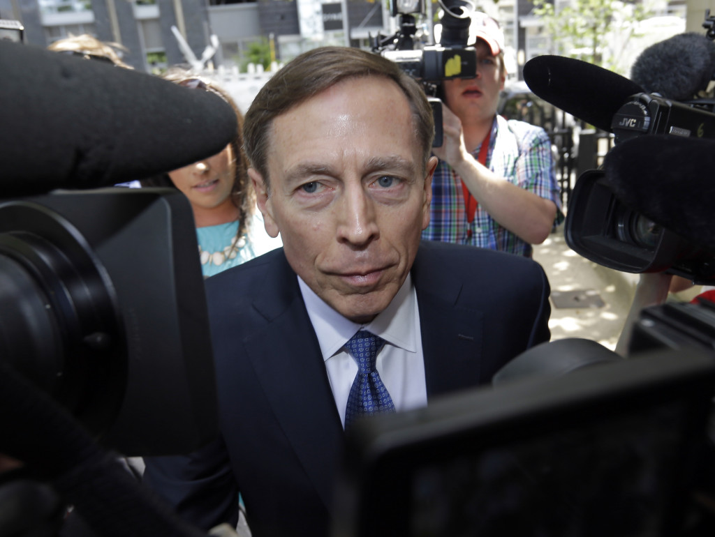 Former CIA director David Petraeus arrives for sentencing at the federal courthouse in Charlotte, N.C., Thursday. The Associated Press