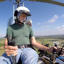 Doug Hughes flies his gyrocopter in Wauchula, Fla., in this March photo. The Tampa Bay Times via AP