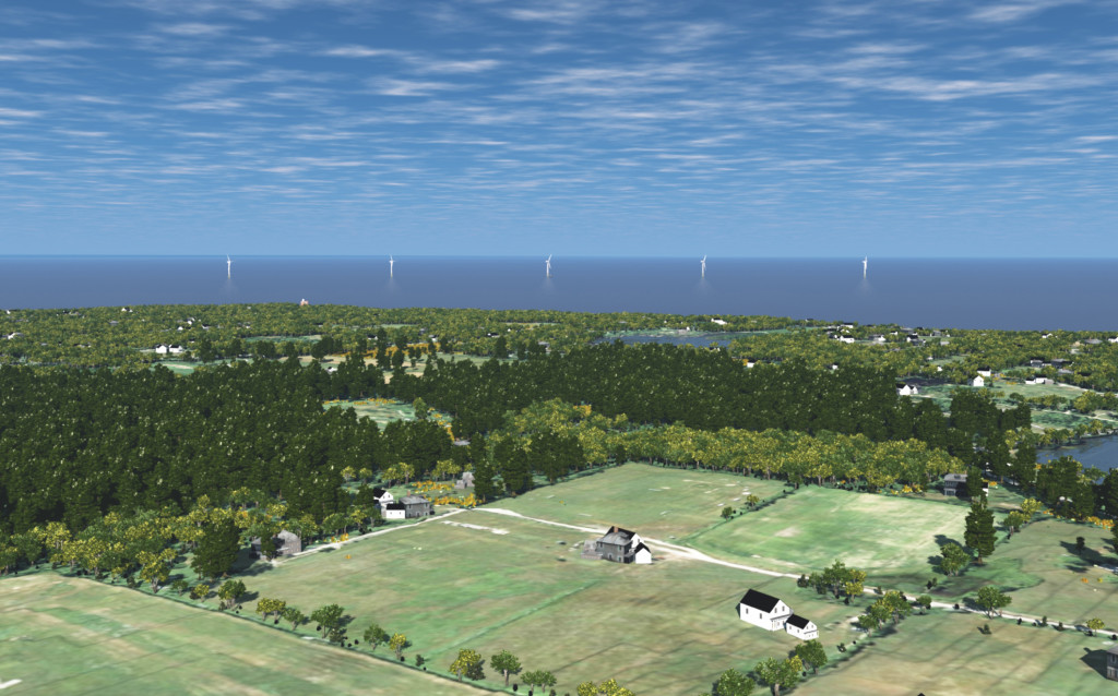 A rendering of the 5-turbine Block Island Wind Farm, going under construction in the spring of 2015.