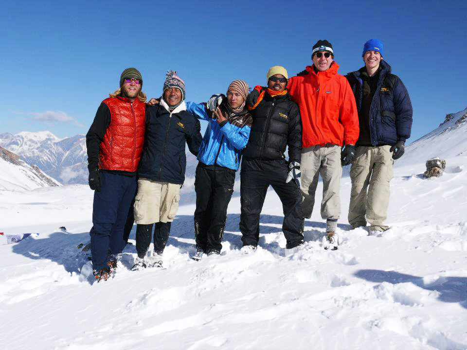 Doug Bruns, 59, of Portland, second from the right on a 2012 trip to Nepal and his son Tim, 32, on the far left, were trekking to the base camp at Mount Everest when the earthquake hit Saturday. Photo courtesy of Carole Bruns