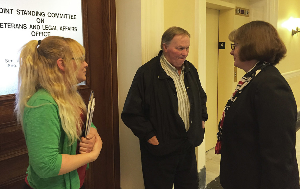 Jenny McPherson, left, and her father, Craig McPherson Sr., speak with Rep. Stacey Guerin about a bill to criminalize driving while extremely tired. Craig McPherson Jr. died in a car crash in Windham March 9, 2014, when his car collided with a car driven by someone who was allegedly fatigued.