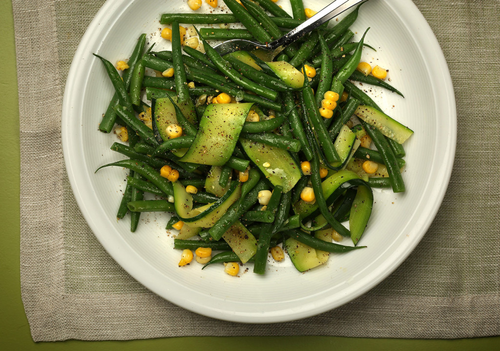 Green beans, corn and zucchini come together with a simple lemon viaigrette.