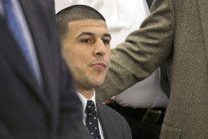 Aaron Hernandez listens as the guilty verdict is read during his murder trial Wednesday at Bristol County Superior Court in Fall River, Mass. The Associated Press