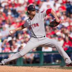 Boston Red Sox starting pitcher Clay Buchholz pitches during the fifth inning of an opening day game against the Philadelphia Phillies on Monday.