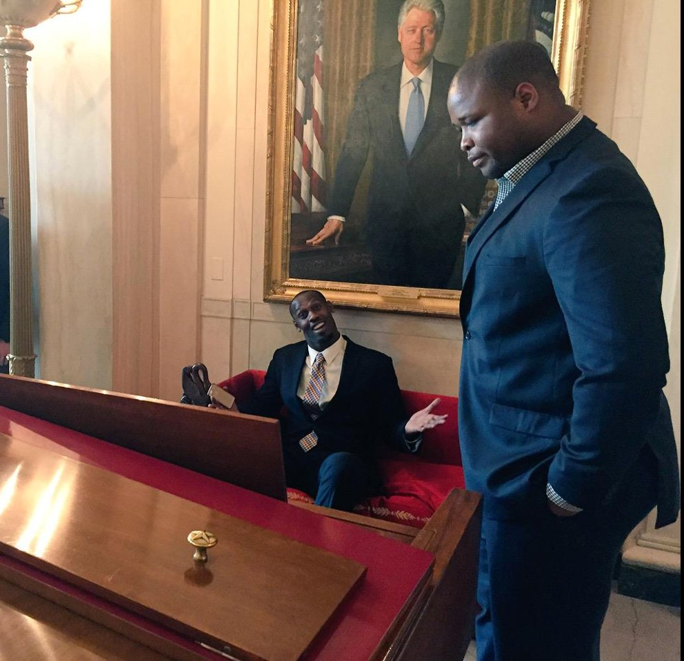 Members of the New England Patriots relax at the White House before the reception with President Obama. New England Patriots photo posted on Twitter