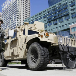 Maryland National Guardsmen patrol in downtown Baltimore Tuesday, a day after looting and arson erupted following the funeral of Freddie Gray. The Associated Press