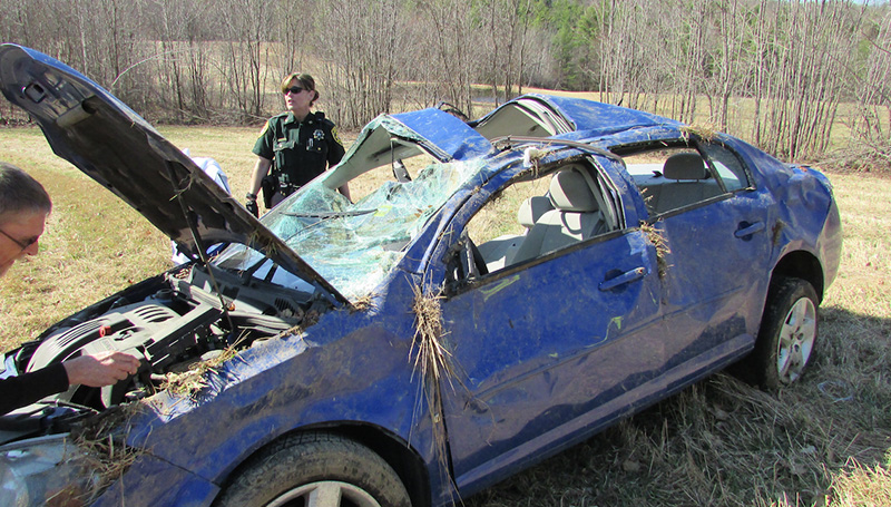 Tabitha Cochrane, 32, of Standish, lost control of her car on Parsonsfield road Wednesday morning and had to be extricated from the vehicle.