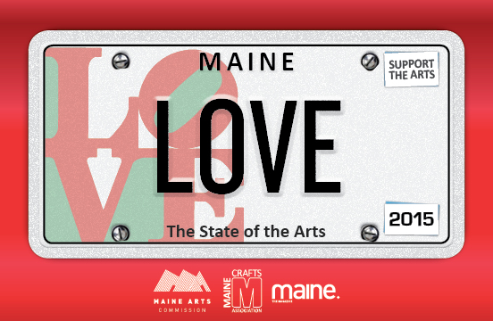 The new specialty State of the Arts license plate features the artwork of longtime Maine resident and internationally renowned artist Robert Indiana. Photo courtesy of the Maine Crafts Association