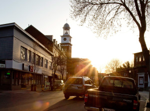 Rays from the sun settled over downtown Biddeford in this 2015 photo from Gabe Souza.