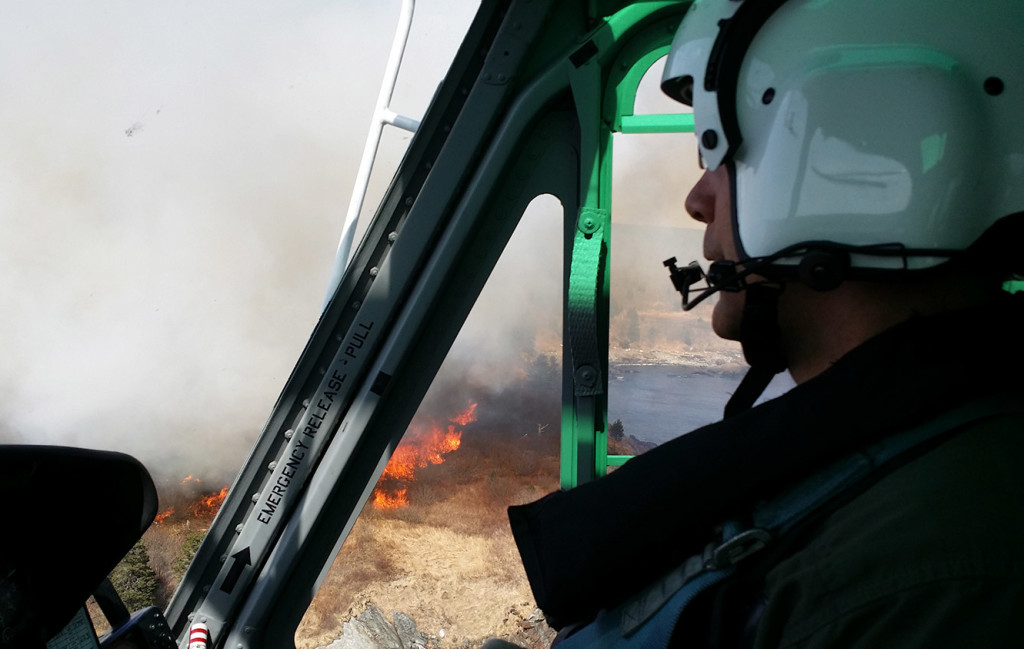 Maine Forest Service helicopters were used Thursday to drop water on the wildfire in Lubec.