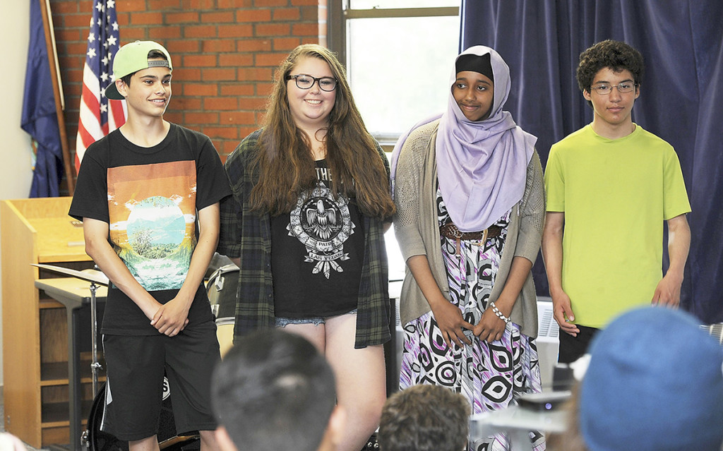 Julien Peck, left, Naomi Radtke Rowe, both freshmen; Ayan Amed, a junior; and Nate Robinson, a sophomore, were picked by the Casco Bay High School to spend a couple of weeks on two tall ships as they sail toward Portland for a tall ship festival in July.