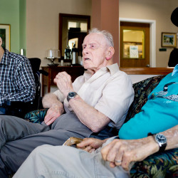 From left, Larry Wright, 88, George Watson, 92, and Robert Kimball, 90, all World War II veterans who live at Gorham House, gather at the home Thursday, a day before leaving for Washington as part of Maine's Honor Flight program.