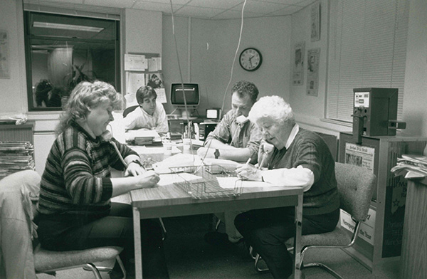 Election night in conference room on the second floor in 1992 at the old Portland Press Herald building on Exchange St.
