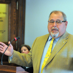 "Rep. Mark Dion of Portland introduces his bill, ""An Act To Allow for and Regulate the Adult Use of Cannabis,"" at Wednesday's hearing before the Criminal Justice Committee. Dion, a former Cumberland County sheriff, said, ""We do have a major drug problem in this state but it involves opiate addiction."" Joe Phelan/Kennebec Journal"