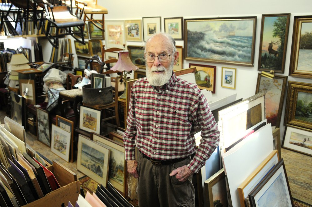 In addition to antiques downstairs, the upstairs at Charles M. Howe Jr.'s expanded Wilson Hall Antiques features a large selection of prints as seen in this photo taken on Friday in Hallowell. Joe Phelan/Kennebec Journal