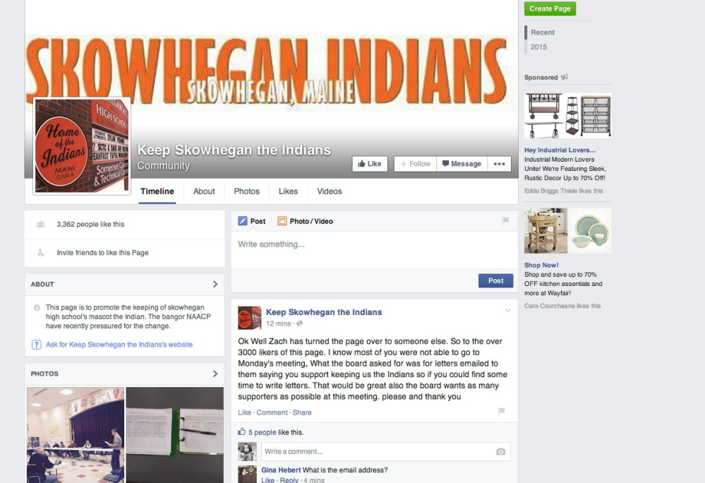 The Facebook page originated by Zachary Queenan of Cornville, a home-schooled high school senior who participated in track at Skowhegan Area High School. Queenan said Tuesday that statements by Native Americans about their feelings toward the name Indians for school sports teams have convinced him to change his mind.