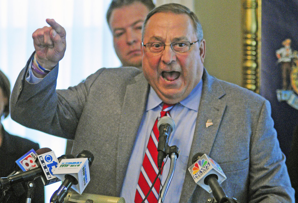 Gov. Paul LePage, speaking at a news conference May 29, vowed to veto all Democratic-sponsored bills. On Monday, he vetoed 10 bills solely because they were sponsored by Democrats. Joe Phelan/Kennebec Journal
