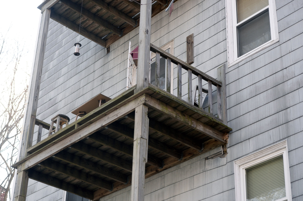 Donald Stain died last week after falling from this porch at his second-floor apartment at 563 Cumberland Ave. The building passed a routine city fire inspection in 2012 and an annual federal Section 8 inspection in January.