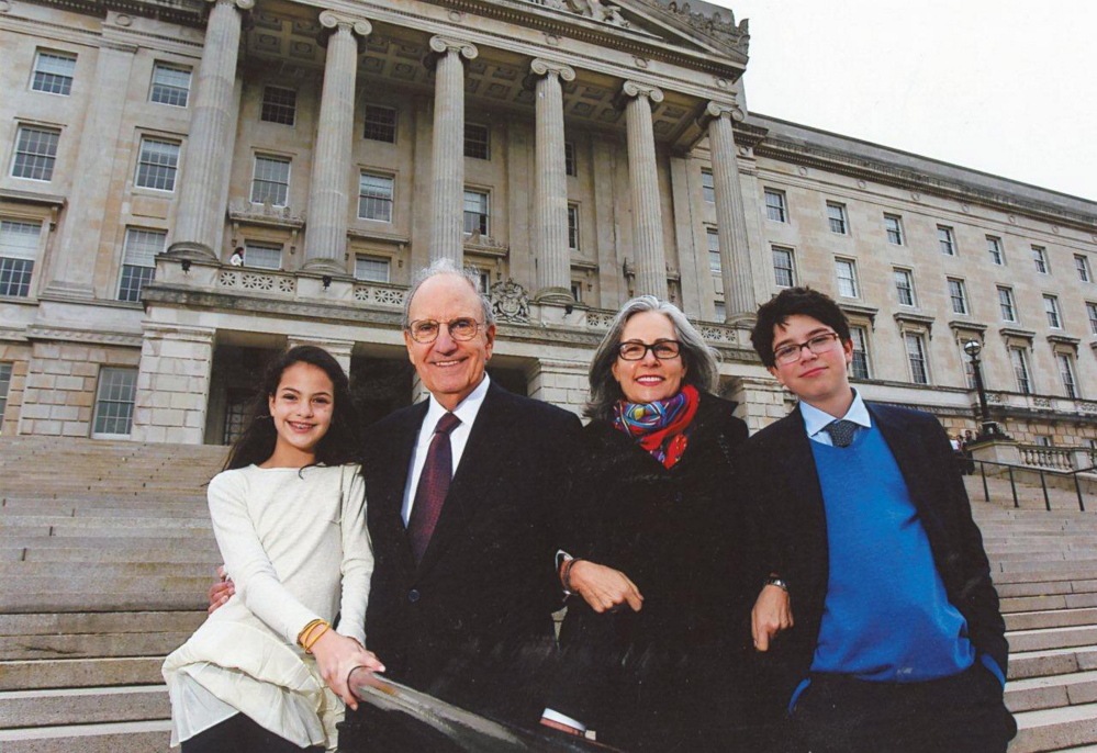 George Mitchell with his family, daughter Claire; wife, Heather and son, Andrew in 2012.