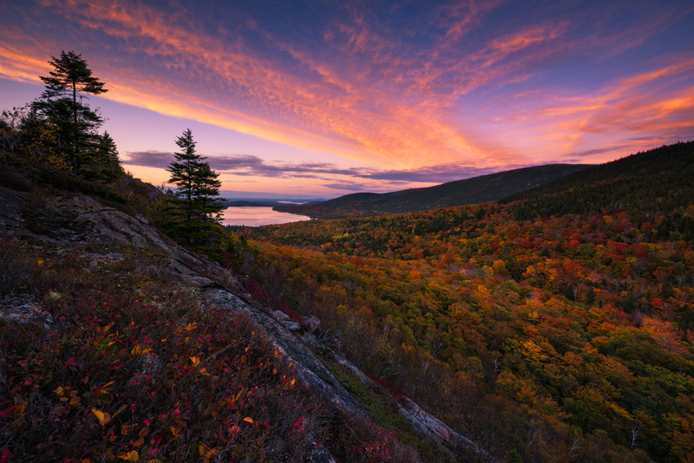 """What Lies Beyond"" by Yegor Malinovskii, a sunset from the South Bubble in Acadia National Park."