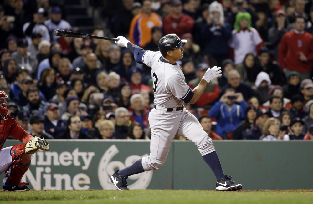 New York Yankees pinch hitter Alex Rodriguez hits a solo homer in the eighth inning Friday night, moving into a fourth-place tie with Willie Mays with 660 career home runs.