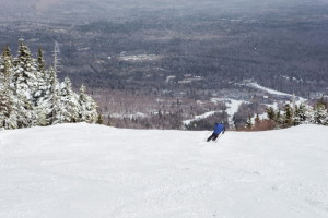A skier gets in a spring run at Sugarloaf last weekend. The Carrabassett Valley ski area is one of many in New England that boasted 50-degree weather and plenty of snow.