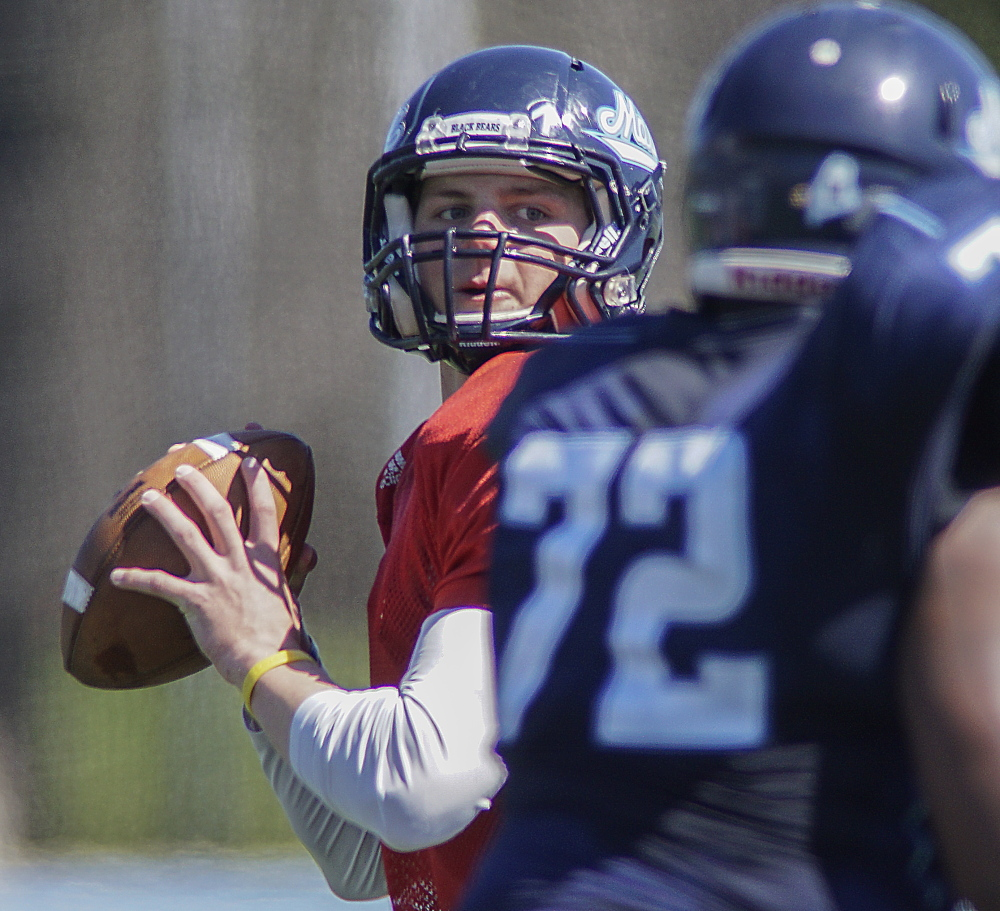 Dan Collins showed a better grasp of the offense, as did Drew Belcher, as they continued their bids to become the No. 1 quarterback for UMaine. The Black Bears open the season Sept. 5 at Boston College.
