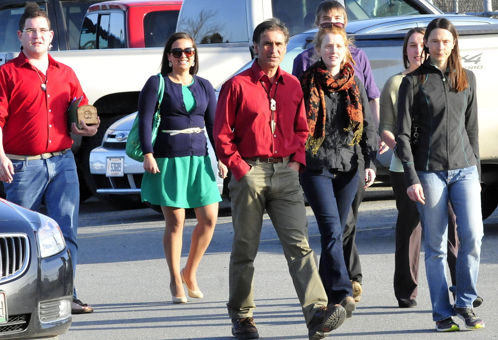 Barry Dana, center, former chief of the Penobscot Nation, arrives on April 13 in Skowhegan with others who want Skowhegan schools to stop using the Indians sports mascot. They were attending a meeting with a school board subcommittee.