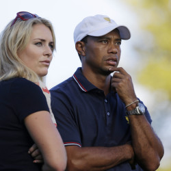 The Associated Press Tiger Woods watches with his girlfriend Lindsey Vonn at the Presidents Cup golf tournament at Muirfield Village Golf Club in Dublin, Ohio, in October 2013. Vonn announced on Sunday that she and Woods have decided to end their three-year relationship.