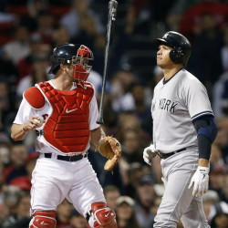 Alex Rodriguez flips his bat in front of Red Sox catcher Blake Swihart after striking out in the eighth inning. Boston fell below .500 for the first time this year after its 8-5 loss.