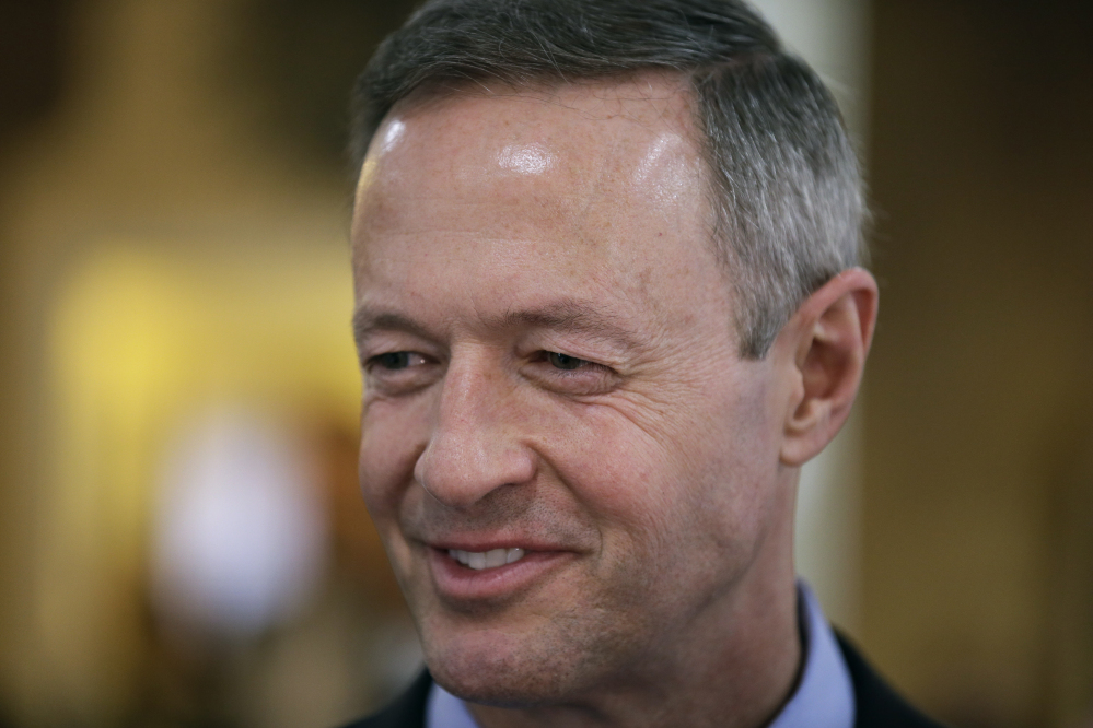 "FILE - In a  Thursday, April 9, 2015, file photo, former Maryland Gov. Martin O'Malley speaks during a fundraiser in Indianola, Iowa. O'Malley often casts Baltimore as the comeback city that overcame the ravages of drugs and violence when he was mayor. Now, weeks before the former Maryland governor expects to enter the 2016 presidential race, Baltimore's turnaround has been marred by the unrest after the police-custody death of Freddie Gray, and there's new scrutiny on O'Malley's ""zero tolerance"" law enforcement policies as mayor."