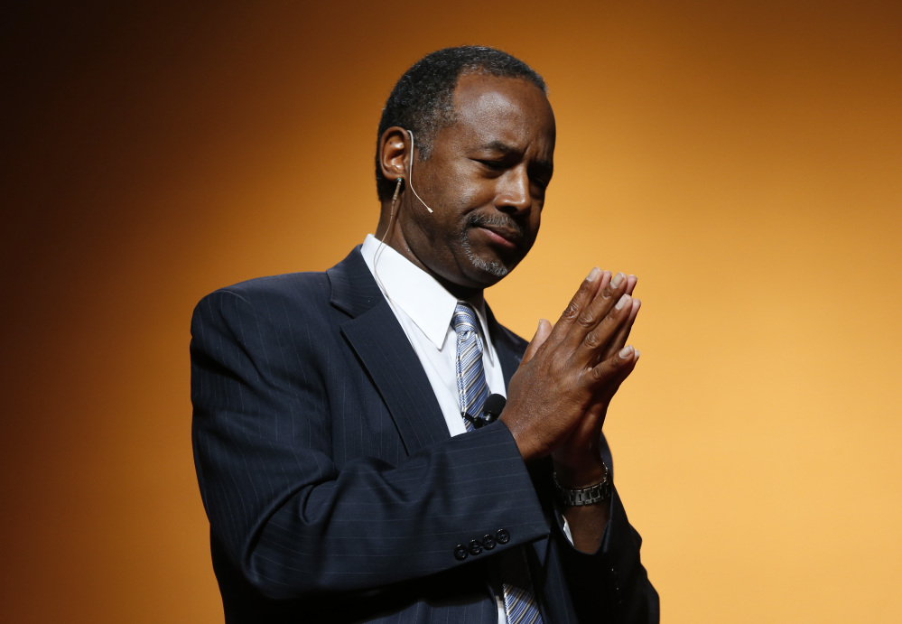 Ben Carson announces his candidacy for president during an official announcement in Detroit, Monday.