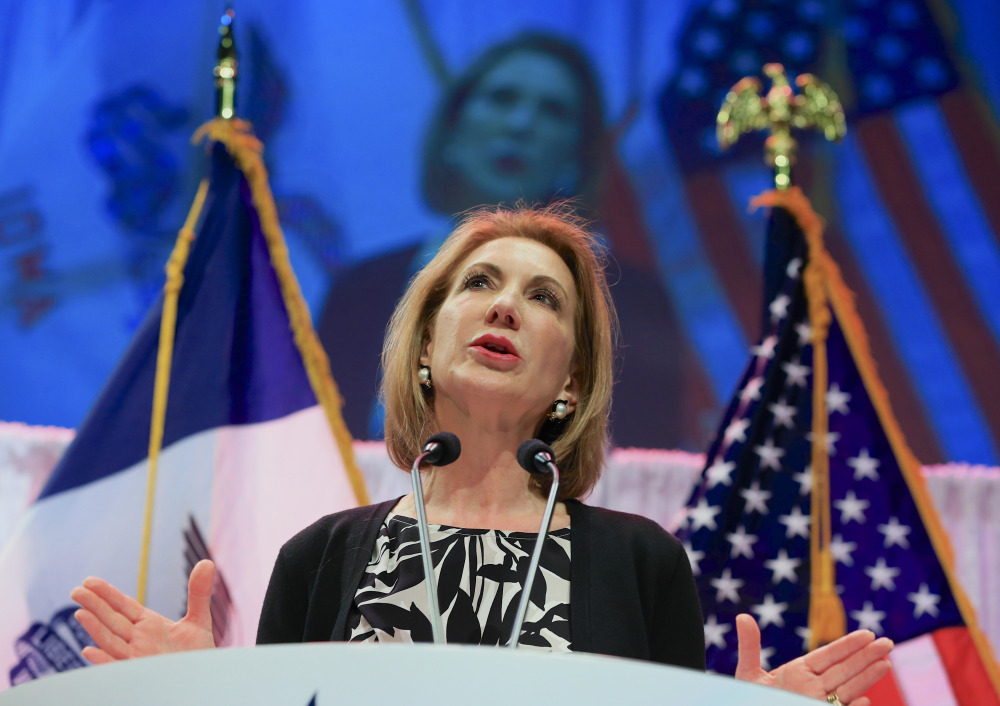 FILE - In this Saturday, April 25, 2015, file photo, former Hewlett-Packard CEO Carly Fiorina speaks at the Iowa Faith & Freedom 15th Annual Spring Kick Off, in Waukee, Iowa. Fiorina is set to launch her run for president on Monday, May 4, 2015, with the potential to help the Republican Party win over a more diverse group of supporters in 2016.