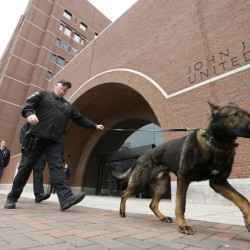 Police patrol outside federal court in Boston Thursday, during the penalty phase in the trial of Dzhokhar Tsarnaev.