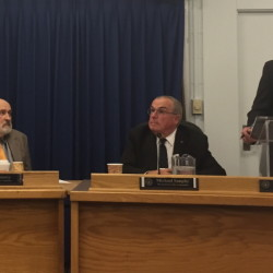 Westbrook City Council President Brendan Rielly, right, stripped Councilor Paul Emery, left, of his chairmanship of the council's Committee of the Whole on Monday in response to Emery's public remarks last week about Gov. Paul LePage. Matt Byrne/Staff Writer