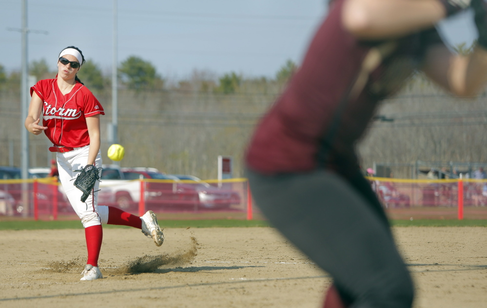 Scarborough sophomore Lilly Volk pitched a complete game, allowing four hits and striking out 10 as the Red Storm beat Thornton Academy 4-3 in a Western A game Monday in Scarborough.