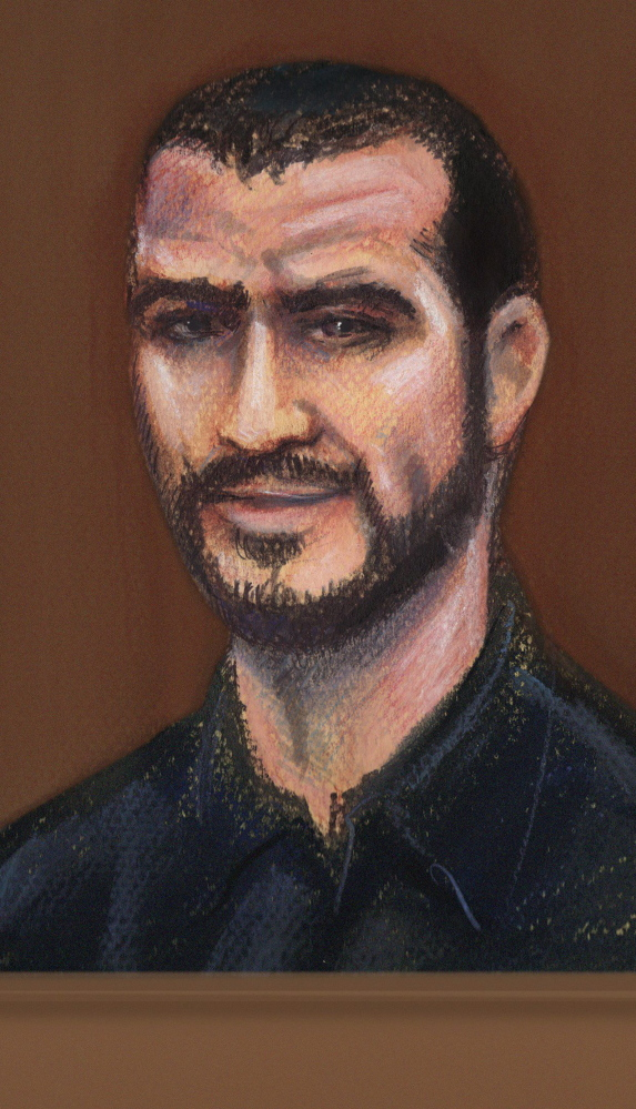 A courtroom sketch of Omar Khadr in court in Edmonton, Alberta, Tuesday.