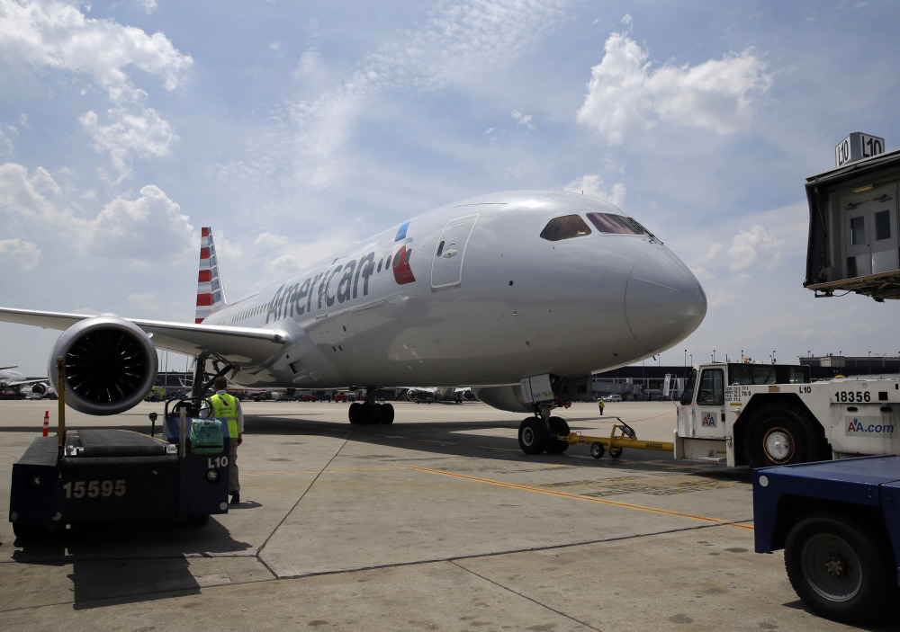 American Airlines' first Boeing 787 Dreamliner prepares to depart Chicago's O'Hare Airport for Dallas-Fort Worth on Thursday. American joins United as the only U.S. airlines using the more fuel-efficient plane.
